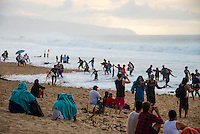 North Shore, Oahu, Hawaii (Friday, December 13, 2013) –  The swell jumped through today from virtually flat at first light to 15'-25' on dark. Pipeline was main spot on the North Shore with waves  in the triple overhead range with 2nd and #rd reef breaking at times. Photo: joliphotos.com