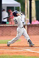 Princeton Rays third baseman Connor Hollis (39) swings at a pitch during game two of the Appalachian League Championship Series against the Elizabethton Twins at Joe O'Brien Field on September 5, 2018 in Elizabethton, Tennessee. The Twins defeated the Rays 2-1 to win the Appalachian League Championship. (Tony Farlow/Four Seam Images)