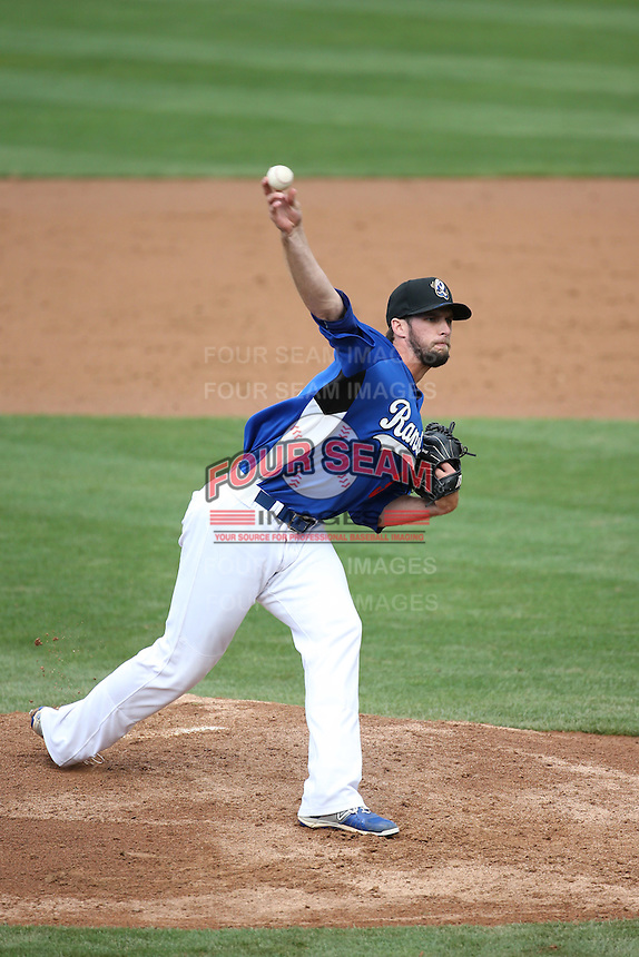 Kyle Hooper (37) of the Rancho Cucamonga Quakes pitches against the Lake Elsinore Storm at LoanMart Field on April 10, 2016 in Rancho Cucamonga, California. Lake Elsinore defeated Rancho Cucamonga, 7-6. (Larry Goren/Four Seam Images)