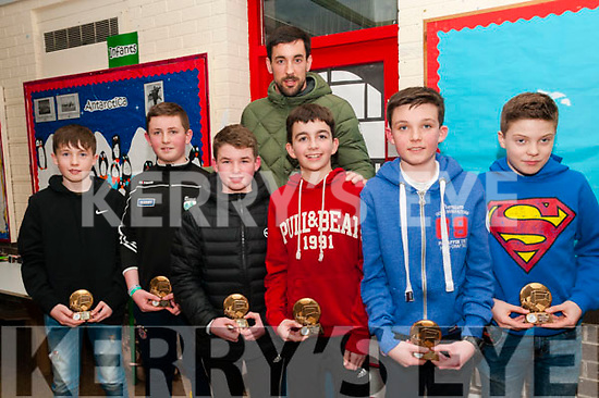 Duagh/Lyre Community Games Awards: Duagh/Lyre community games participants in U/13 Indoor soccer who were presentted with their awards on Friday night last at Duagh National School by Kerry football star anthony Maher. L-R: Cormac Dillon, Eoghan Doorley, Ethan Keane, Jack Moloney, Eli Fitzgerald & Ferghal Cudlipp & Anthony Maher at back.