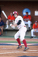 Max White of the Oklahoma Sooners playing in Game Two of the NCAA Super Regional tournament against the Virginia Cavaliers at Charlottesville, VA - 06/13/2010. Oklahoma defeated Virginia, 10-7, to tie the series after two games.  Photo By Bill Mitchell / Four Seam Images
