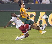New York Red Bulls Def Marvell Wynne defends against LA Galaxy Fwd Landon Donovan. LA Galaxy defeated New York Red Bulls 1-0 during a MLS game at The Home Depot Center in Carson, California, Tuesday July 4, 2006.