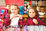 Aoife Hartnett and Saoirse O'Connor McCarthy pictured on their first day of school at moyderwell primary, Tralee on Thursday.