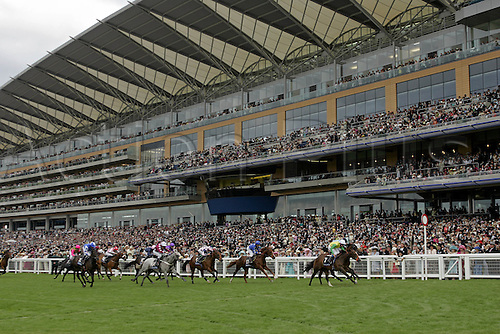 20 June 2006: Jockey Declan McDonogh rides Elhamri to victory in the Windsor Castle Stakes in the shadow of the new stand. The new Ascot Racecourse was officially opened before racing on the this, the first day of Royal Ascot Photo: Glyn Kirk/actionplus...060620 horse venue grandstand