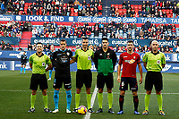 Captains of both teams and the 3 referees before the Spanish football of La Liga 123, match between CA Osasuna and CD Lugo at the Sadar stadium, in Pamplona (Navarra), Spain, on Sanday, December 2, 2018.