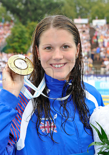 15.8.2010 Budpest, Hungary. 2010 LEN European Championships,  Kate Haywood (GBR) wins a Silver Medal in the Womens 50m Breaststroke Final