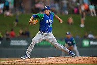 Relief pitcher Robert Garcia (33) of the Lexington Legends delivers a pitch during a game against the Greenville Drive on Sunday, September 2, 2018, at Fluor Field at the West End in Greenville, South Carolina. Greenville won, 7-4. (Tom Priddy/Four Seam Images)