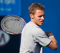Mats Mirkel practices with Andy Murray at Melbourne Park..International Tennis - Australian Open  -  Melbourne Park - Melbourne - Day 13 - Sat 29th January 2011..© Frey - AMN Images, Level 1, Barry House, 20-22 Worple Road, London, SW19 4DH.Tel - +44 208 947 0100.Email - Mfrey@advantagemedianet.com.Web - www.amnimages.photshelter.com