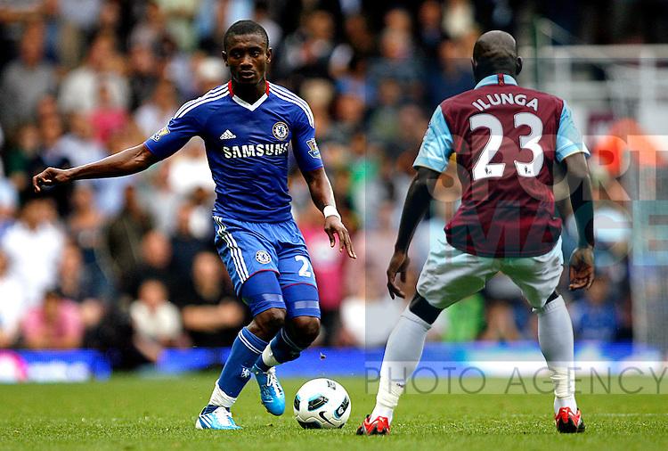 Salomon Kalou of Chelsea takes on Herita Ilunga of West Ham United