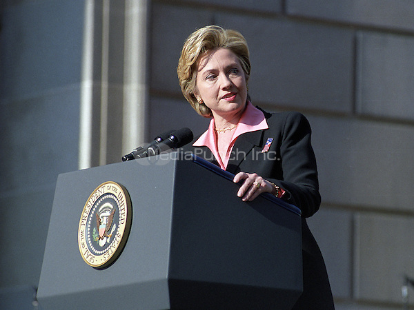 First lady Hillary Rodham Clinton makes remarks during the Opening Ceremonies of America's Millennium Celebration in Washington, D.C. on December 31, 1999.<br /> Credit: Ron Sachs / CNP/MediaPunch