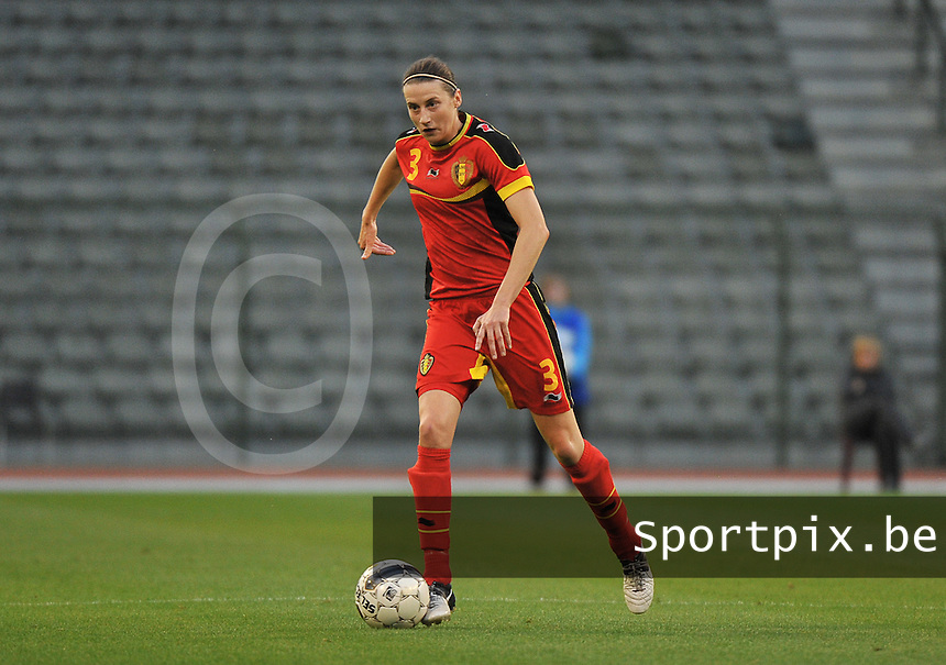 20130921 - BRUSSELS , BELGIUM : Belgian Heleen Jaques pictured during the female soccer match between Belgium and Albania , on the first matchday in group 5 of the UEFA qualifying round to the FIFA Women World Cup in Canada 2015 at the Koning Boudewijn Stadion , Brussels . Saturday 21th September 2013. PHOTO DAVID CATRY