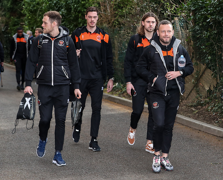 Blackpool's Jay Spearing leads the players into the stadium<br /> <br /> Photographer Andrew Kearns/CameraSport<br /> <br /> The EFL Sky Bet League Two - Bristol Rovers v Blackpool - Saturday 2nd March 2019 - Memorial Stadium - Bristol<br /> <br /> World Copyright © 2019 CameraSport. All rights reserved. 43 Linden Ave. Countesthorpe. Leicester. England. LE8 5PG - Tel: +44 (0) 116 277 4147 - admin@camerasport.com - www.camerasport.com