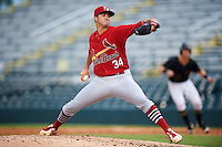 Palm Beach Cardinals starting pitcher Jack Flaherty (34) delivers a pitch during a game against the Bradenton Marauders on August 8, 2016 at McKechnie Field in Bradenton, Florida.  Bradenton defeated Palm Beach 5-4 in 11 innings.  (Mike Janes/Four Seam Images)