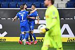 Torjubel nach dem 3-0: Jacob Bruun Larsen (Hoffenheim), Munas Dabbur (Hoffenheim) und Torschuetze Steven Zuber (Hoffenheim).<br /> <br /> Sport: Fussball: 1. Bundesliga: Saison 19/20: 28. Spieltag: TSG 1899 Hoffenheim - 1. FC Koeln, 27.05.2020<br /> <br /> Foto: Markus Gilliar/GES/POOL/PIX-Sportfotos.<br /> <br /> Nur für journalistische Zwecke! Only for editorial use!<br /> <br /> Gemäß den Vorgaben der DFL Deutsche Fußball Liga ist es untersagt, in dem Stadion und/oder vom Spiel angefertigte Fotoaufnahmen in Form von Sequenzbildern und/oder videoähnlichen Fotostrecken zu verwerten bzw. verwerten zu lassen. DFL regulations prohibit any use of photographs as image sequences and/or quasi-video.