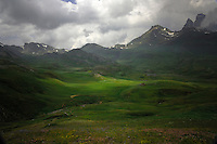 Green pastures and Mountains. Spanish / French border Aragon, Pyreneese mountains, Spain