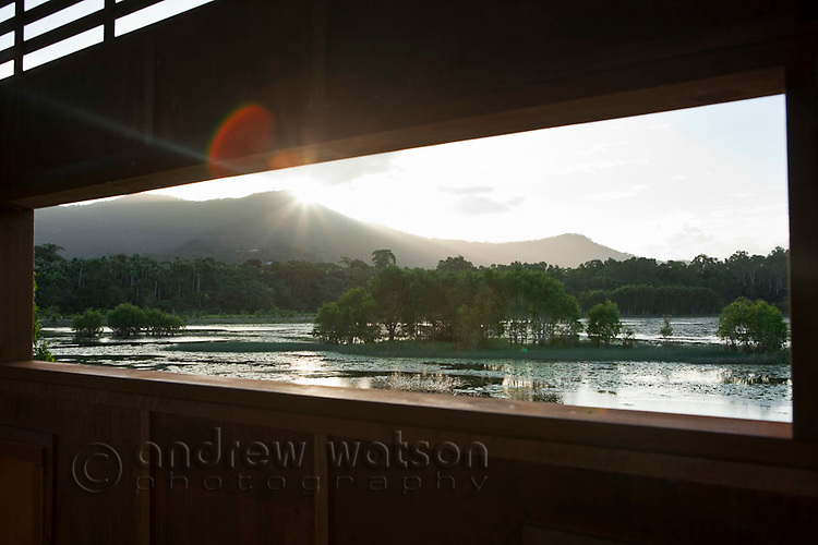 View through bird hide at Cattana Wetlands.  Smithfield, Cairns, Queensland, Australia