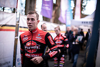 race winner and Belgian National Champion Laurens Sweeck (BEL/Pauwels Sauzen - Bingoal) on his way to the podium ceremony. <br /> <br /> Elite Men's Race <br /> Belgian National CX Championships<br /> Antwerp 2020
