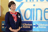 ARDMORE, PA - OCTOBER 8 :  Three days prior to Pennsylvania's October 11 voter registration deadline, Tim Kaine's wife, Anne Holton is pictured campaigning for Hillary Clinton and her husband, Tim Kaine at a public Pennsylvania Democratic Party event urging Pennsylvanians to register or check their registration status at IWillVote.com, at a campaign office in Ardmore , Pa on October 8, 2016  photo credit  Star Shooter/MediaPunch