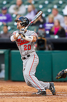 Anthony Azar #20 of the Sam Houston State Bearkats follows through on his swing against the Texas Christian Horned Frogs at Minute Maid Park on February 28, 2014 in Houston, Texas.  The Bearkats defeated the Horned Frogs 9-4.  (Brian Westerholt/Four Seam Images)
