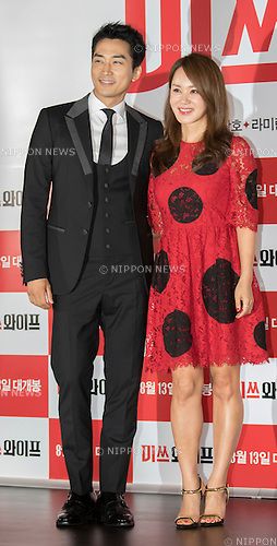 "Song Seung-Heon and  Uhm Jung-Hwa, Jul 28, 2015 : South Korean actor Song Seung-heon (L) and actress and singer Uhm Jung-hwa pose during a press event promoting their new movie, ""Miss Wife"" in Seoul, South Korea. (Photo by Lee Jae-Won/AFLO) (SOUTH KOREA)"