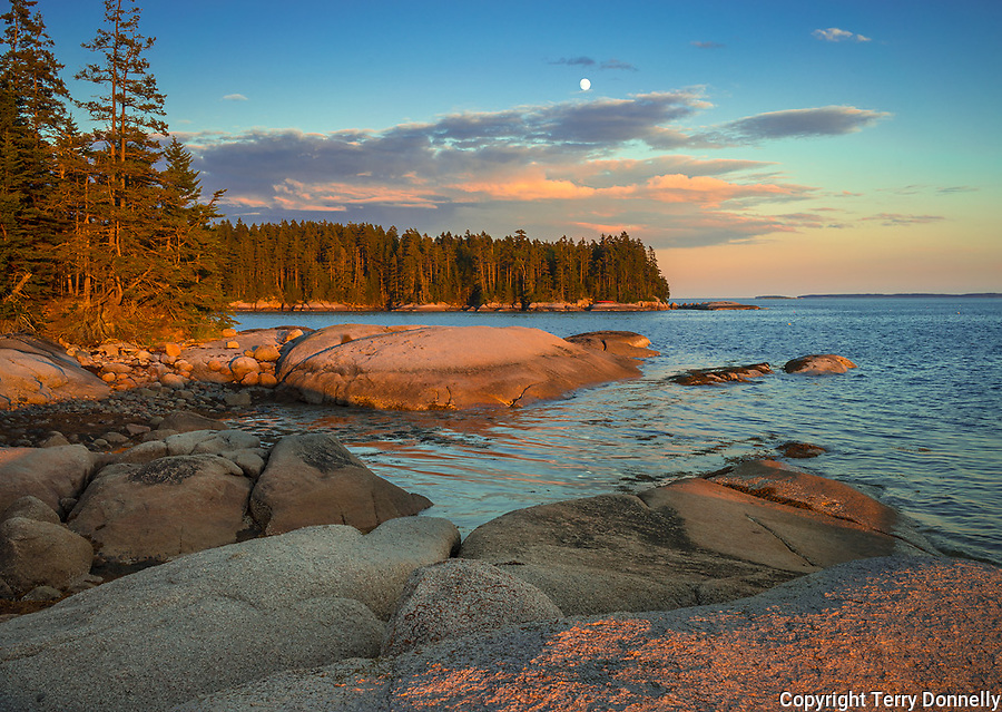Deer Isle, Maine:<br /> Evening light and moonrise on the rocky shoreline of Deer Isle