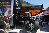 Apr. 5, 2013; Las Vegas, NV, USA: (Editors note: Special effects lens used in creation of this image) Fans gather at the pits of NHRA top fuel dragster driver Troy Buff in the pits during qualifying for the Summitracing.com Nationals at the Strip at Las Vegas Motor Speedway. Mandatory Credit: Mark J. Rebilas-