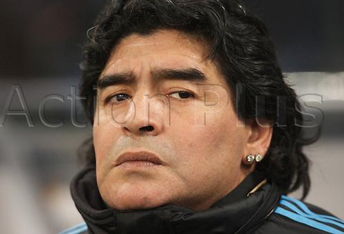 03/03/2010 Football Munich Country game Germany v Argentina 0 1 Manager of Argentina Diego Armando Maradona. Photo: Imago/Actionplus. Editorial Use UK.