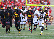 College Park, MD - September 9, 2017: Towson Tigers wide receiver Rodney Dorsey (26) runs the ball during game between Towson and Maryland at  Capital One Field at Maryland Stadium in College Park, MD.  (Photo by Elliott Brown/Media Images International)
