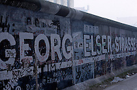 'George Elser Street' - graffiti, Berlin Wall west zone.10 November 1989