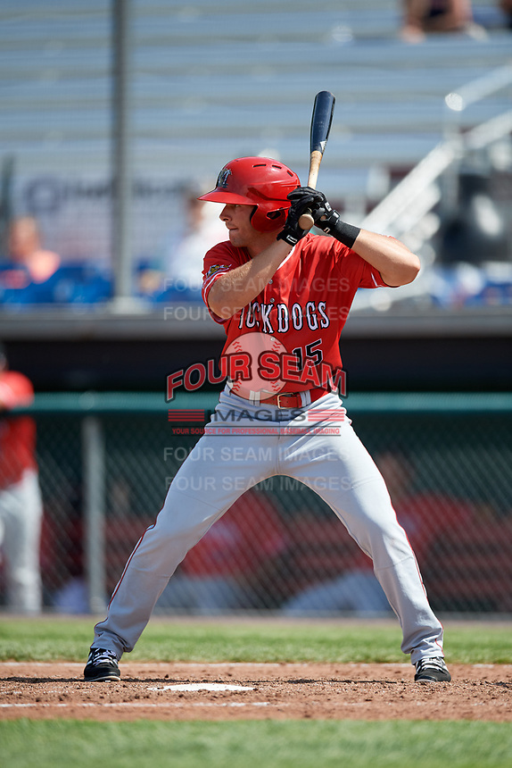 Batavia Muckdogs left fielder Matt Brooks (15) at bat during a game against the Auburn Doubledays on June 17, 2018 at Falcon Park in Auburn, New York.  Auburn defeated Batavia 10-6.  (Mike Janes/Four Seam Images)