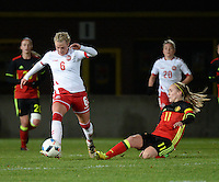 20161128 - TUBIZE ,  BELGIUM : Belgian Janice Cayman (R) and Danish Julie Trustup Jensen (L)  pictured during the female soccer game between the Belgian Red Flames and Denmark , a friendly game before the European Championship in The Netherlands 2017  , Monday 28 th November 2016 at Stade Leburton in Tubize , Belgium. PHOTO SPORTPIX.BE | DIRK VUYLSTEKE
