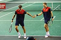 1st November 2019, AccorHotels Arena, Bercy, Paris, France; Rolex Paris Masters tennis tournament;  Nicolas Mahut and Pierre Hugues Herbert (FRA) accolade celebrate a point