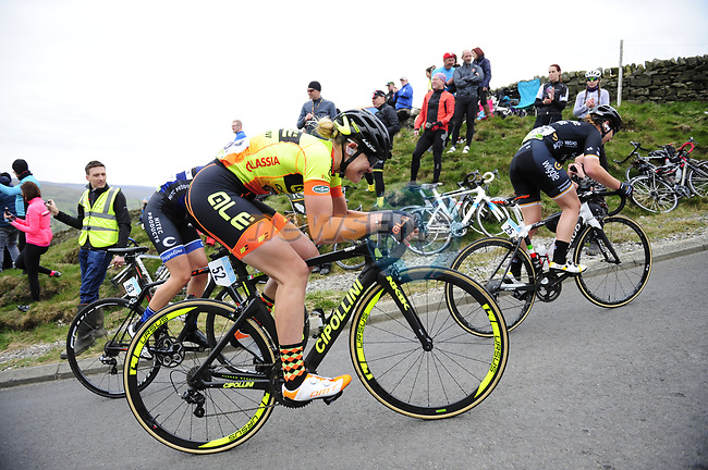 The peloton including Martina Alzini (ITA) Ale-Cipollini tackle one of the numerous climbs during the ASDA Women's Tour de Yorkshire 2017 running 122.5km from Tadcaster to Harrogate, England. 29th April 2017. <br /> Picture: ASO/P.Ballet | Cyclefile<br /> <br /> <br /> All photos usage must carry mandatory copyright credit (&copy; Cyclefile | ASO/P.Ballet)