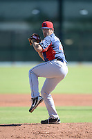Cleveland Indians pitcher Caleb Hamrick (43) during an instructional league game against the Cincinnati Reds on September 28, 2013 at Goodyear Training Complex in Goodyear, Arizona.  (Mike Janes/Four Seam Images)