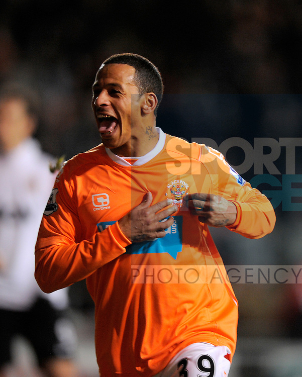 D J Campbell of Blackpool celebrates the second goal
