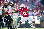 Wisconsin Badgers defensive back Natrell Jamerson (12) during an NCAA Big Ten Conference football game against the Maryland Terrapins Saturday, October 21, 2017, in Madison, Wis. The Badgers won 38-13. (Photo by David Stluka)