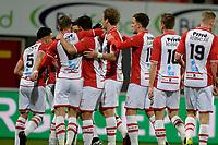 EMMEN - Voetbal, FC Emmen - Jong Ajax, Jens Vesting, Jupiler League, seizoen 2017-2018, 15-12-2017,  Emmen viert de 1-1 van FC Emmen speler Cas Peters