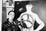 """1967. Manhattan, New York. France Raysse wife and muse of french artist Martial Raysse in her apartment in NYC. Martial developed what became his """"vision hygiene"""" concept: a vision that showcases consumer society."""