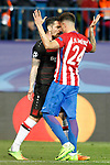 Atletico de Madrid's Jose Maria Gimenez (r) and Bayer 04 Leverkusen's Roberto Hilbert have words during Champions League 2016/2017 Round of 16 2nd leg match. March 15,2017. (ALTERPHOTOS/Acero)