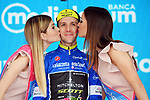 Simon Yates (GBR) Mitchelton-Scott retains the mountains Maglia Azzurra at the end of Stage 16 of the 2018 Giro d'Italia, a 34.2km individual time-trial from Trento to Rovereto the stage is a pivotal moment in the fight for the Corsa Rosa's GC, Italy. 21st May 2018.<br /> Picture: LaPresse/Gian Mattia D'Alberto | Cyclefile<br /> <br /> <br /> All photos usage must carry mandatory copyright credit (&copy; Cyclefile | LaPresse/Gian Mattia D'Alberto)