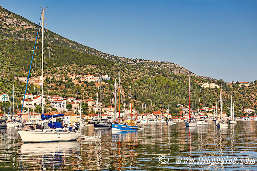 Sailing boats at the port of Vathy in Ithaki island, Greece