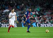 4th November 2017, Camp Nou, Barcelona, Spain; La Liga football, Barcelona versus Sevilla; Paulinho runs runs the ball chased by Escudero of Sevilla