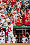 21 May 2018: Washington Nationals outfielder Juan Soto, making his first Major League start, received a standing ovation and curtain call after getting his first career hit: a 3-run homer on the first pitch he faced by the San Diego Padres pitching at Nationals Park in Washington, DC. The Nationals defeated the Padres 10-2, taking the first game of their 3-game series. Mandatory Credit: Ed Wolfstein Photo *** RAW (NEF) Image File Available ***