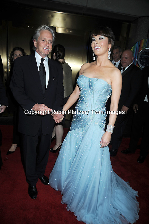 Michael Douglas and Catherine Zeta-Jones arriving at The 61st Annual Tony Awards on June 13, 2010 at Radio City Music Hall in New York City.