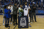 Nevada guard Lindsey Drew (14) with his family on Senior night after a basketball game against San Diego State played at Lawlor Events Center in Reno, Nev., Saturday, Feb. 29, 2020. (AP Photo/Tom R. Smedes)