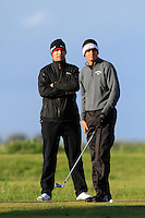 Christian Bezuidenhout (South Africa) and his caddy on the 12th tee during Round 3 of The Irish Amateur Open Championship in The Royal Dublin Golf Club on Saturday 10th May 2014.<br /> Picture:  Thos Caffrey / www.golffile.ie