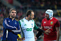 Referee Romain Poite (centre) pushes away Rory Best  during the 2017 DHL Lions Series rugby match between the Hurricanes and British & Irish Lions at Westpac Stadium in Wellington, New Zealand on Tuesday, 27 June 2017. Photo: Dave Lintott / lintottphoto.co.nz