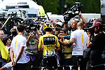 Yellow Jersey Egan Bernal (COL) Team Ineos with media at sign on before the start of Stage 21 of the 2019 Tour de France running 128km from Rambouillet to Paris Champs-Elysees, France. 28th July 2019.<br /> Picture: ASO/Alex Broadway | Cyclefile<br /> All photos usage must carry mandatory copyright credit (© Cyclefile | ASO/Alex Broadway)