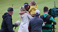 Wife Wendy and daughter Iris rush to hug Shane Lowry (IRL) winning the Final Round of the 148th Open Championship, Royal Portrush Golf Club, Portrush, Antrim, Northern Ireland. 21/07/2019. Picture David Lloyd / Golffile.ie<br /> <br /> All photo usage must carry mandatory copyright credit (© Golffile | David Lloyd)