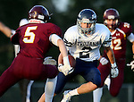 MADISON, SD - SEPTEMBER 11:  Noah Vettrus #2 from West Central looks to get past Noah Guse #5 from Madison in the first half of their game Friday night in Madison. (Photo by Dave Eggen/Inertia)